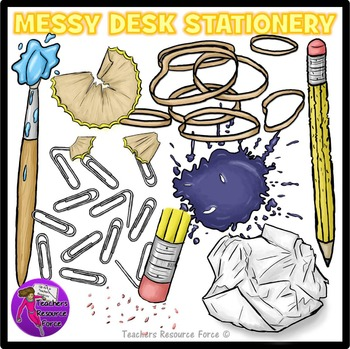 Messy Desk: Stationery School Supplies Clip Art clipart.