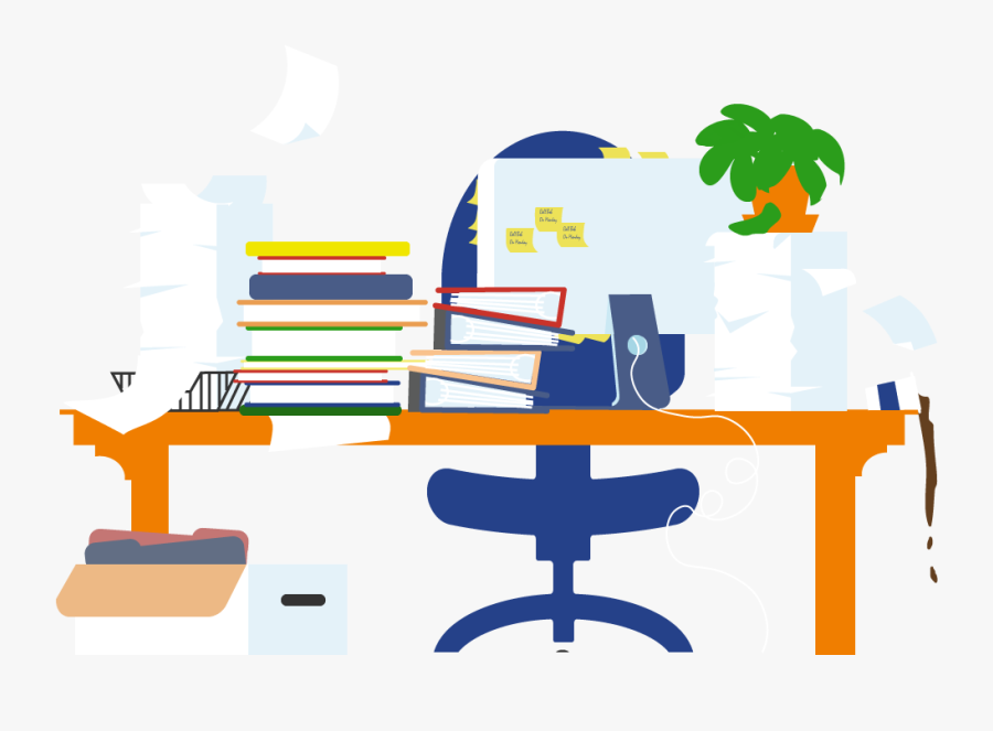 Black And White Png Man At Messy Desk.
