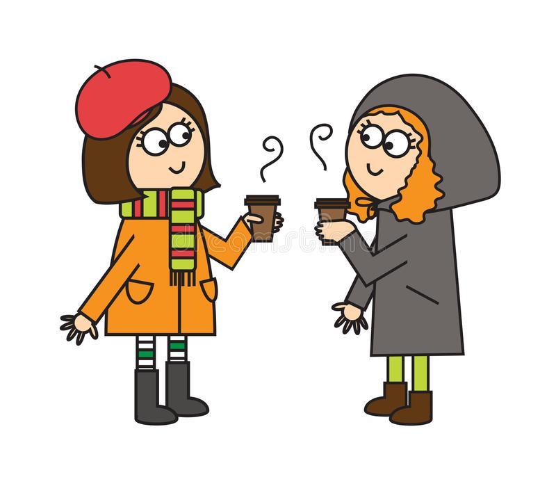 Girls Met Stock Illustrations.