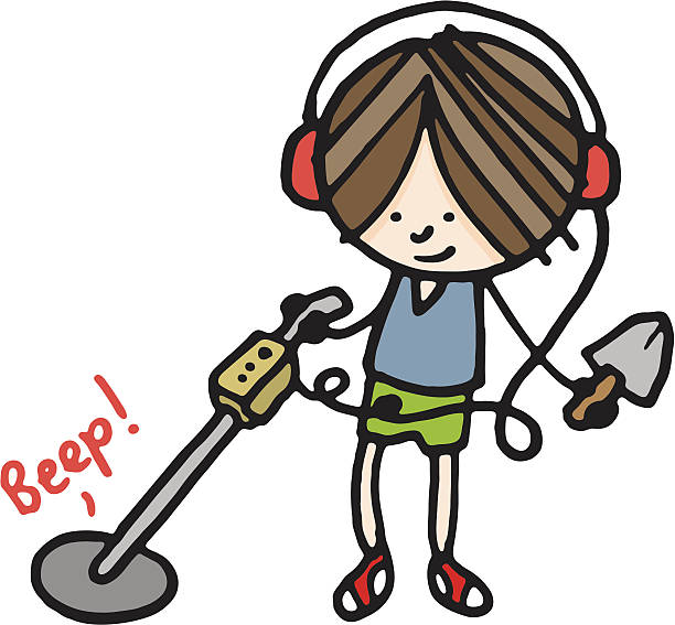 Metal Detector Finding Discovery Searching Clip Art, Vector Images.