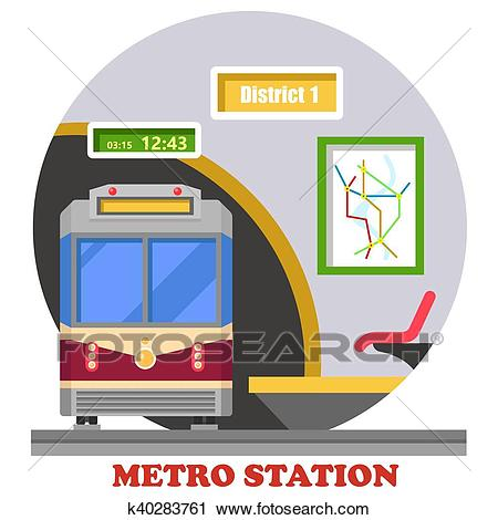 Metro, subway, rapid transit or heavy rail Clipart.