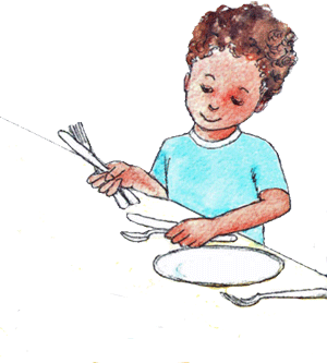 children setting the table clipart.