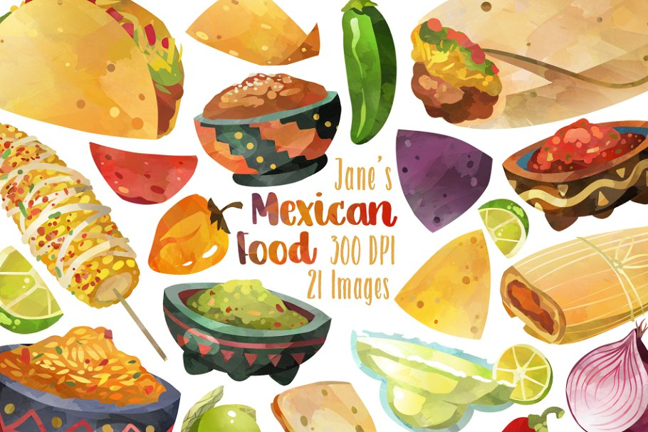 Watercolor Mexican Food Clipart ~ Illustrations ~ Creative.
