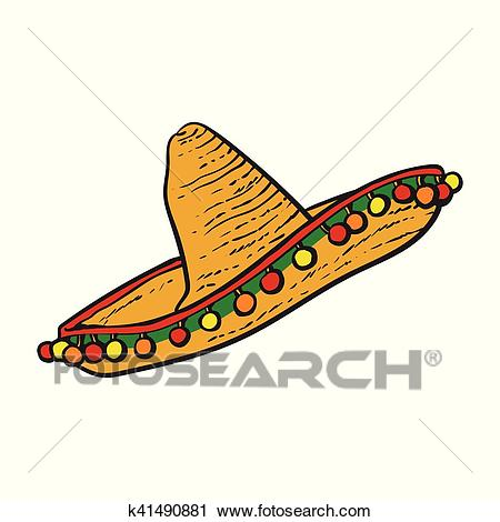Traditional Mexican wide brimmed sombrero hat Clipart.
