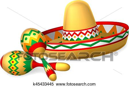 Mexican Sombrero Hat and Maracas Shakers Clipart.