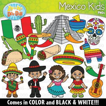 Mexico Kids Clipart Set {Zip.