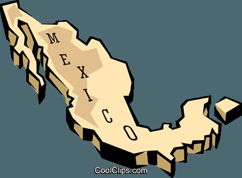 Mexico map Royalty Free Vector Clip Art illustration.