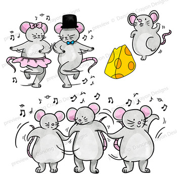 Clip Art of Dancing Mice.