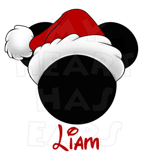 Printable DIY Christmas Santa Hat Mickey Mouse digital clip art.