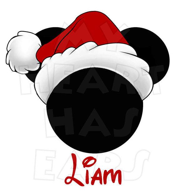 Printable DIY Christmas Santa Hat Mickey Mouse digital clip art.