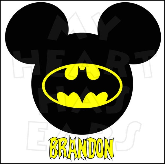 Batman Mickey Mouse head ears Digital Iron on transfer clip art INSTANT  DOWNLOAD DIY for Shirt.