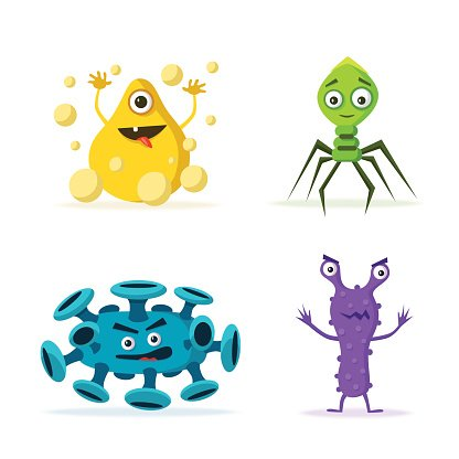 Set of bacteria characters. Cartoon vector illustration.