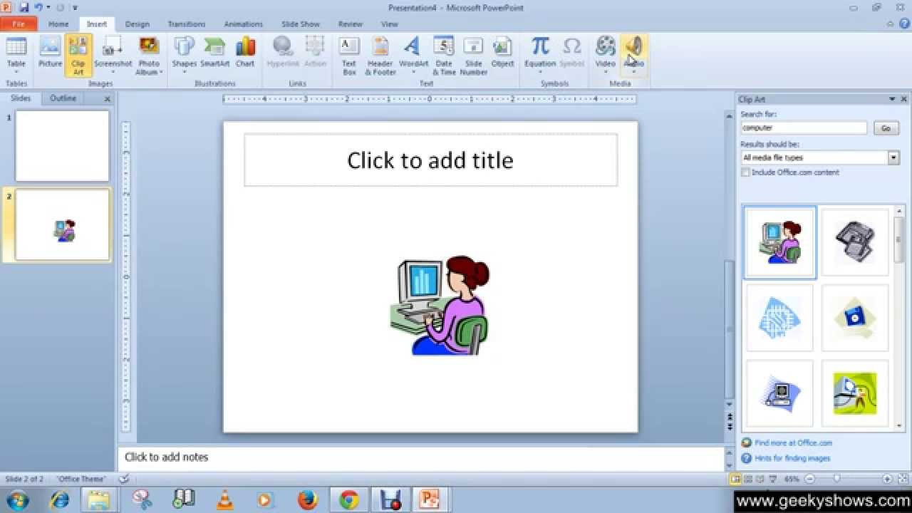 Microsoft PowerPoint 2010 Insert Clip Art and Picture.