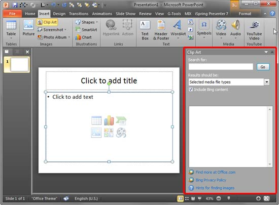 Insert Pictures From the Clip Art Pane in PowerPoint 2010.