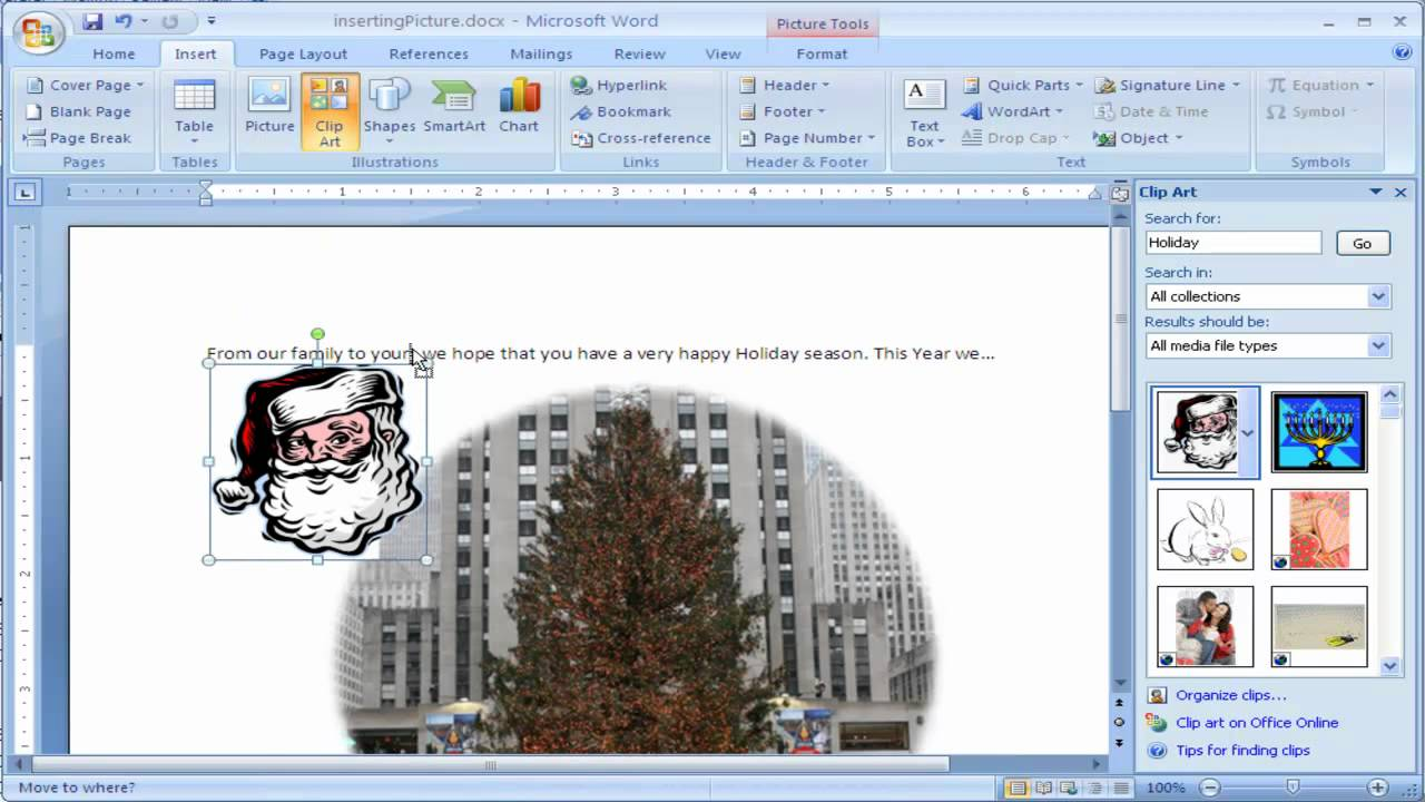 How to Insert clipart into Microsoft Word 2007.