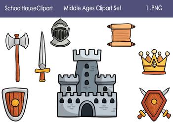 Middle Ages Clipart Set.