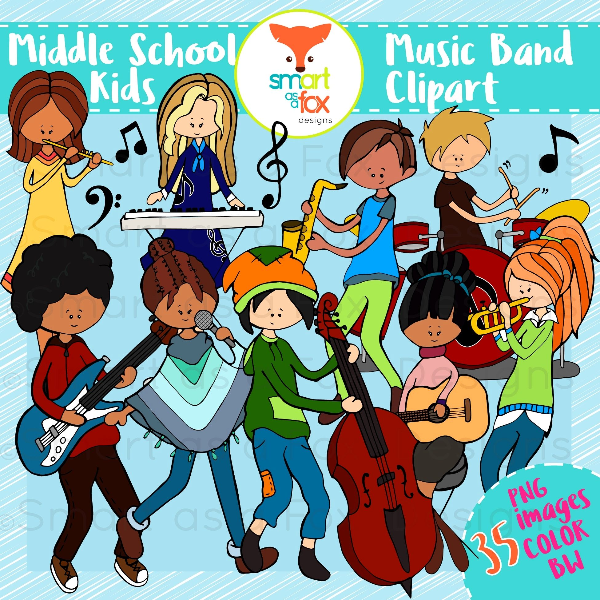 Middle School Kids Music Band Clipart Personal and.