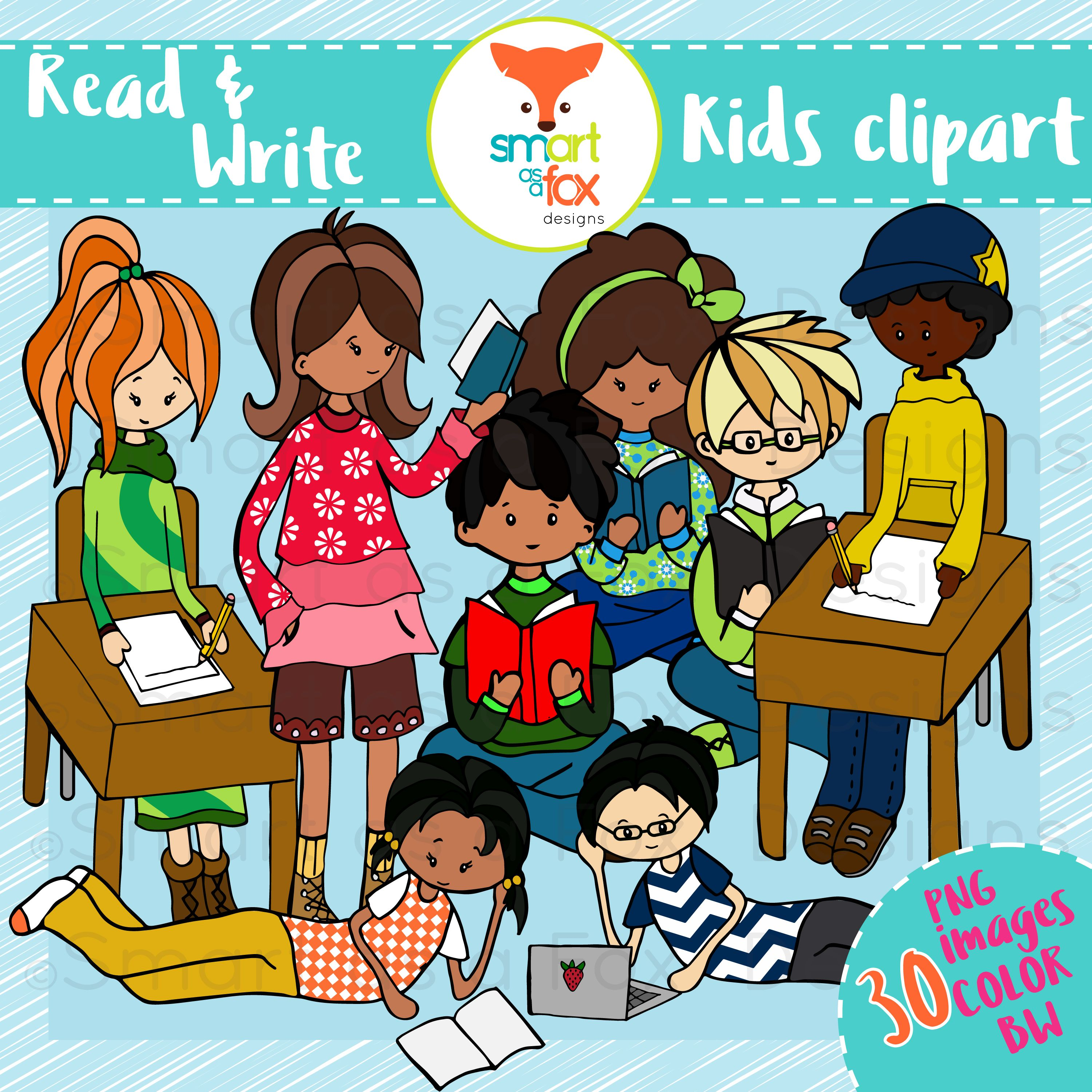 Middle School Kids Read Write Clipart Personal and.