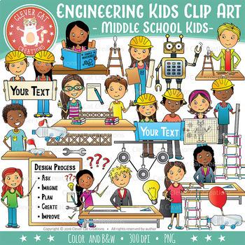 Engineering Kids Clip Art.