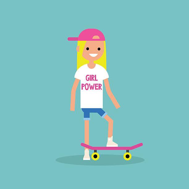 Cartoon Happy Smiling Kid Girl With Skateboard In Sport Mood Clip.