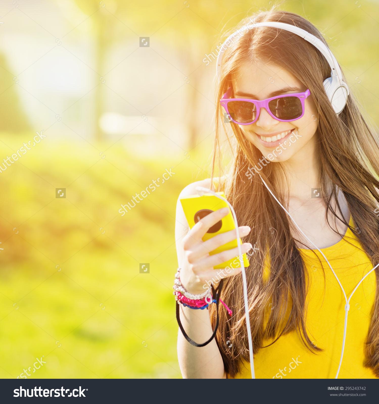 Modern Happy Millennial Teenage Girl Sunglasses Stock Photo.