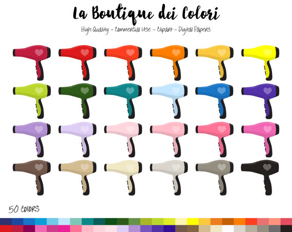 50 Rainbow Hair Dryer Clip art, Colorful illustrations PNG, Hair.