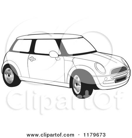 Clipart of a Blue Mini Cooper Car.