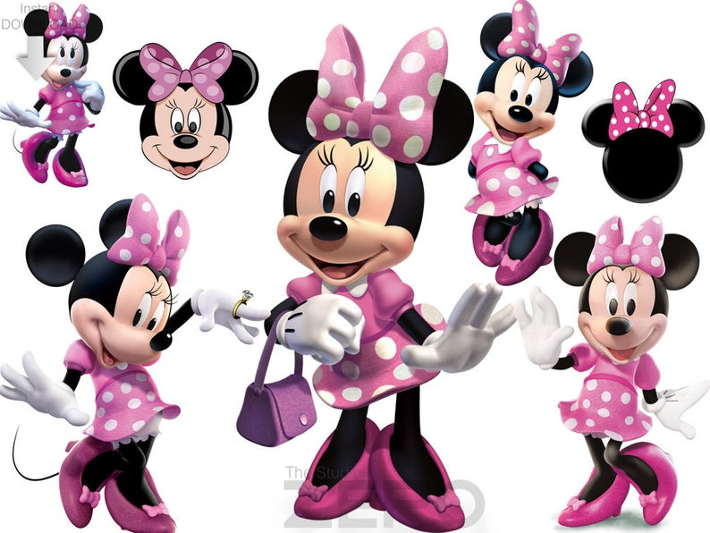 100 Minnie Mouse, Red Minnie Clipart, Instant Download, Printable Iron On  Transfer or Use as Clip Art, Pink Minnie Clipart, Minnie Clipart.