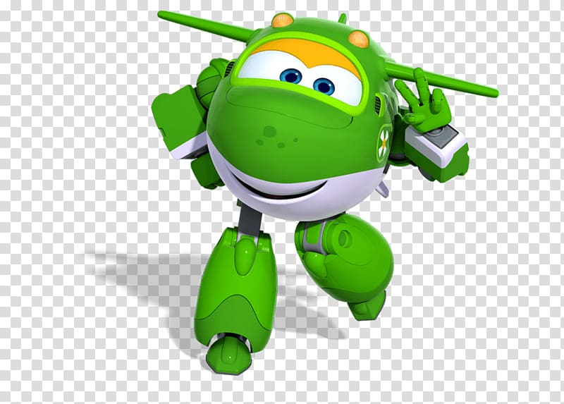 Green plane robot cartoon character, Mira Making Peace Sign.