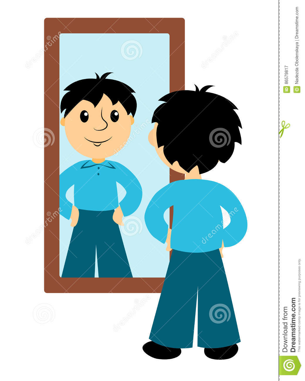The boy looks in a mirror stock vector. Illustration of clipart.