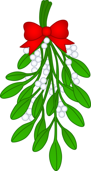 Christmas Mistletoe With Red Bow.