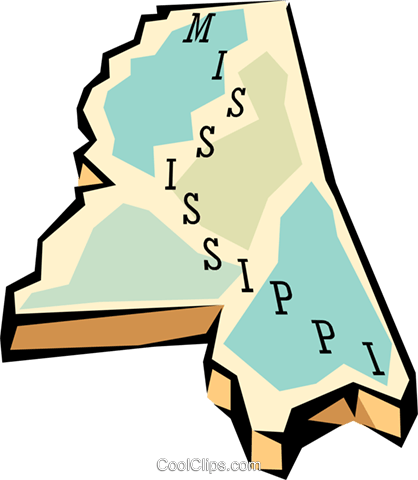 Mississippi state map Royalty Free Vector Clip Art.