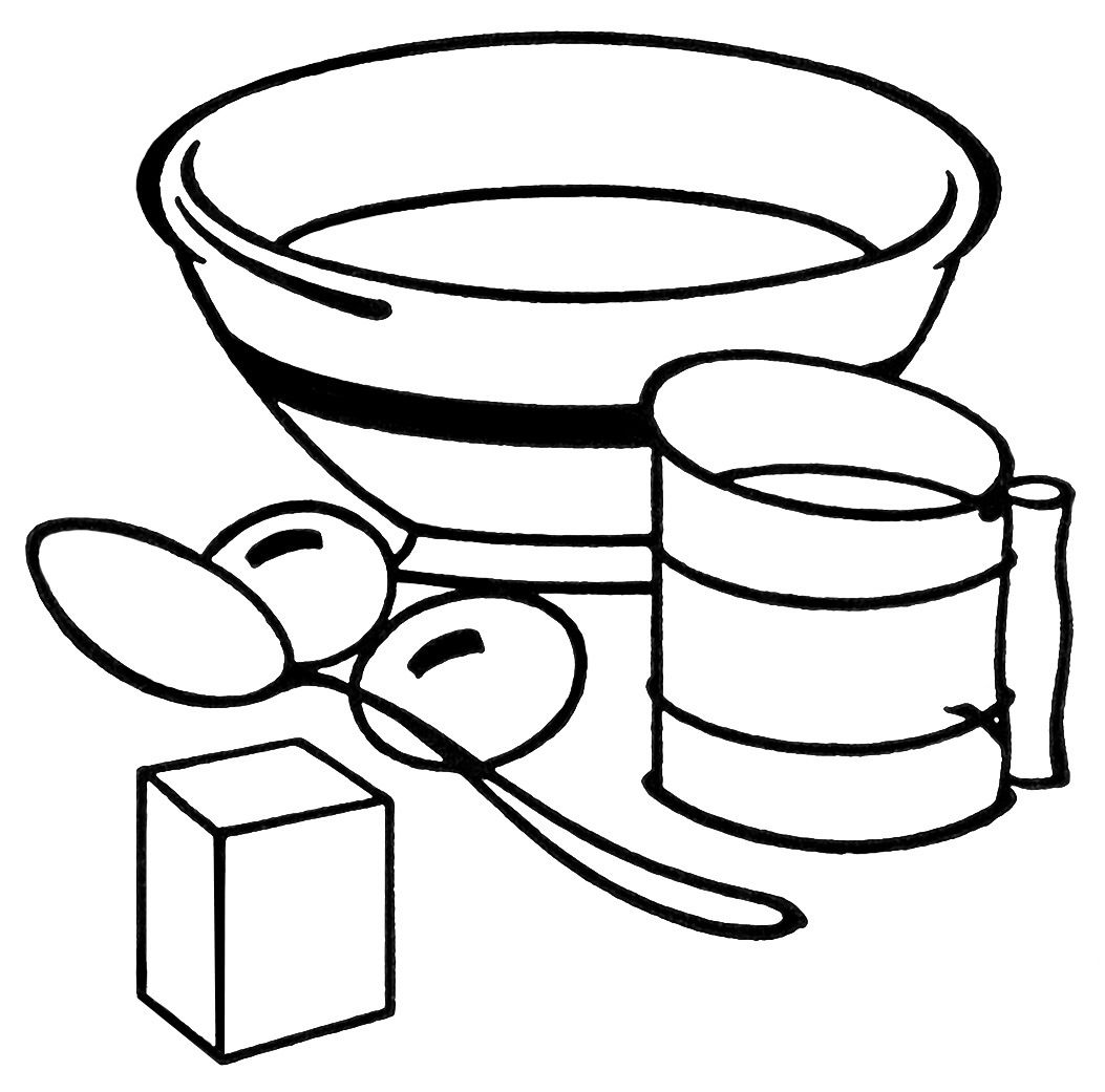 This vintage clipart features some baking equipment: a mixing bowl.