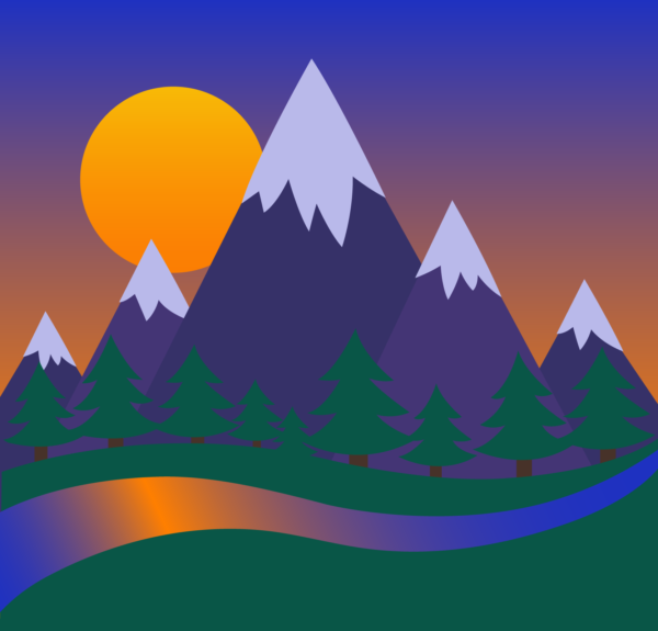 Mountains and Forest Sunset Clip Art.