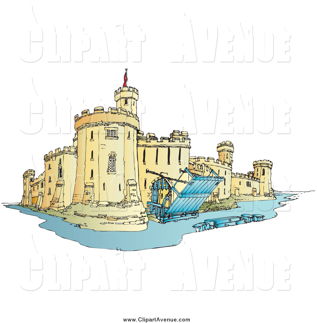 Avenue Clipart of a Castle with a Moat by Snowy.