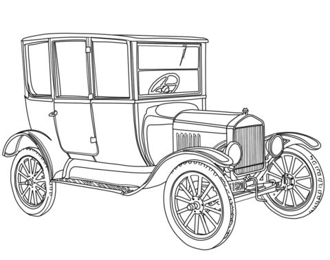 1919 Ford Model T coloring page.