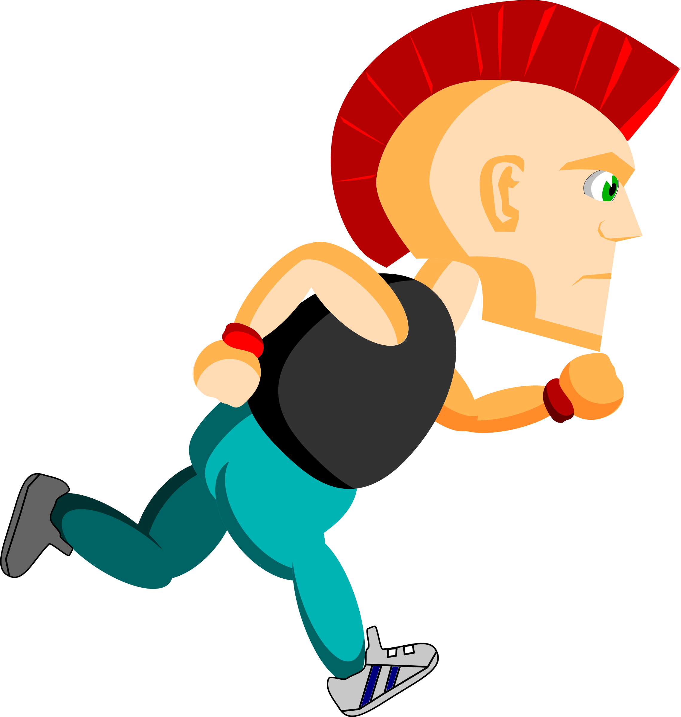Punk with Mohawk running vector clipart image.