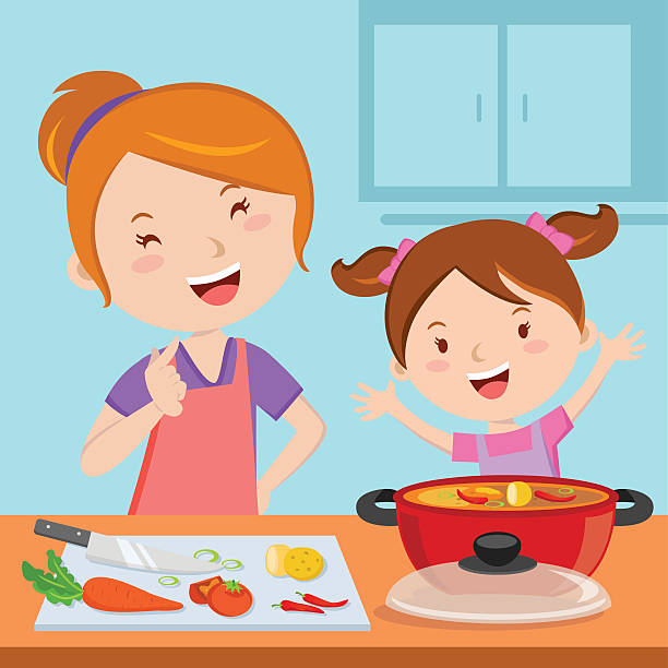 Mom Cooking Dinner Clipart.