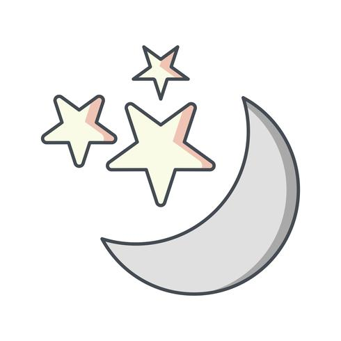 Moon And stars Vector Icon.