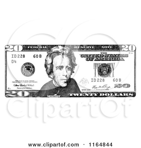 Clipart of a Black and White Twenty Dollar Bill.