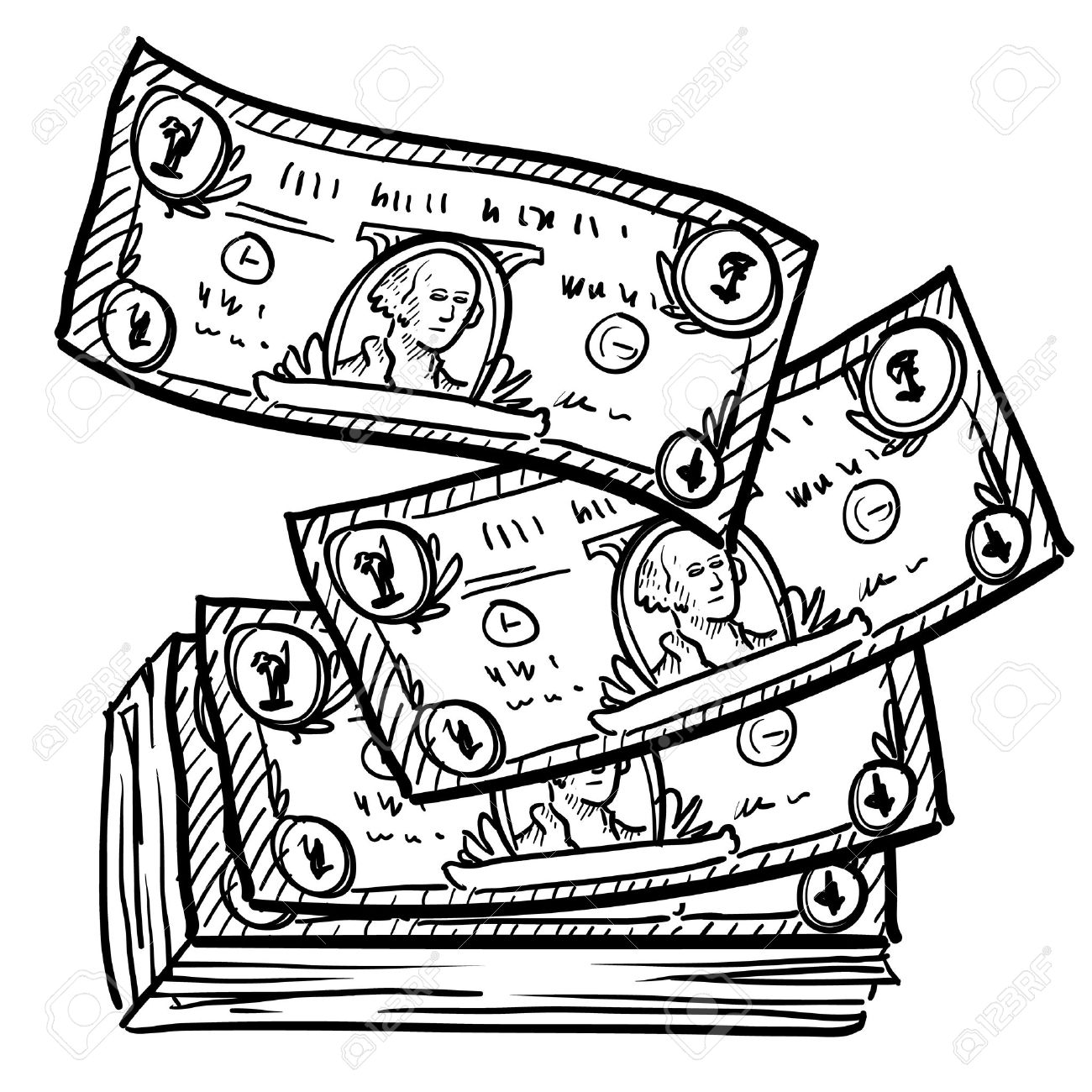 Doodle Style Paper Currency Or Dollar Bills Illustration In Vector.