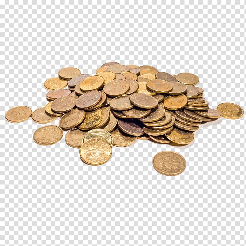 Gold coin Money Icon, A pile of scattered coins transparent.