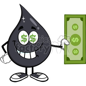 royalty free rf clipart illustration greedy petroleum or oil drop cartoon  character with cash money and dollar eyes vector illustration isolated on.