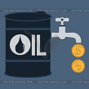Tap, valve with money drop, oil energy concept.