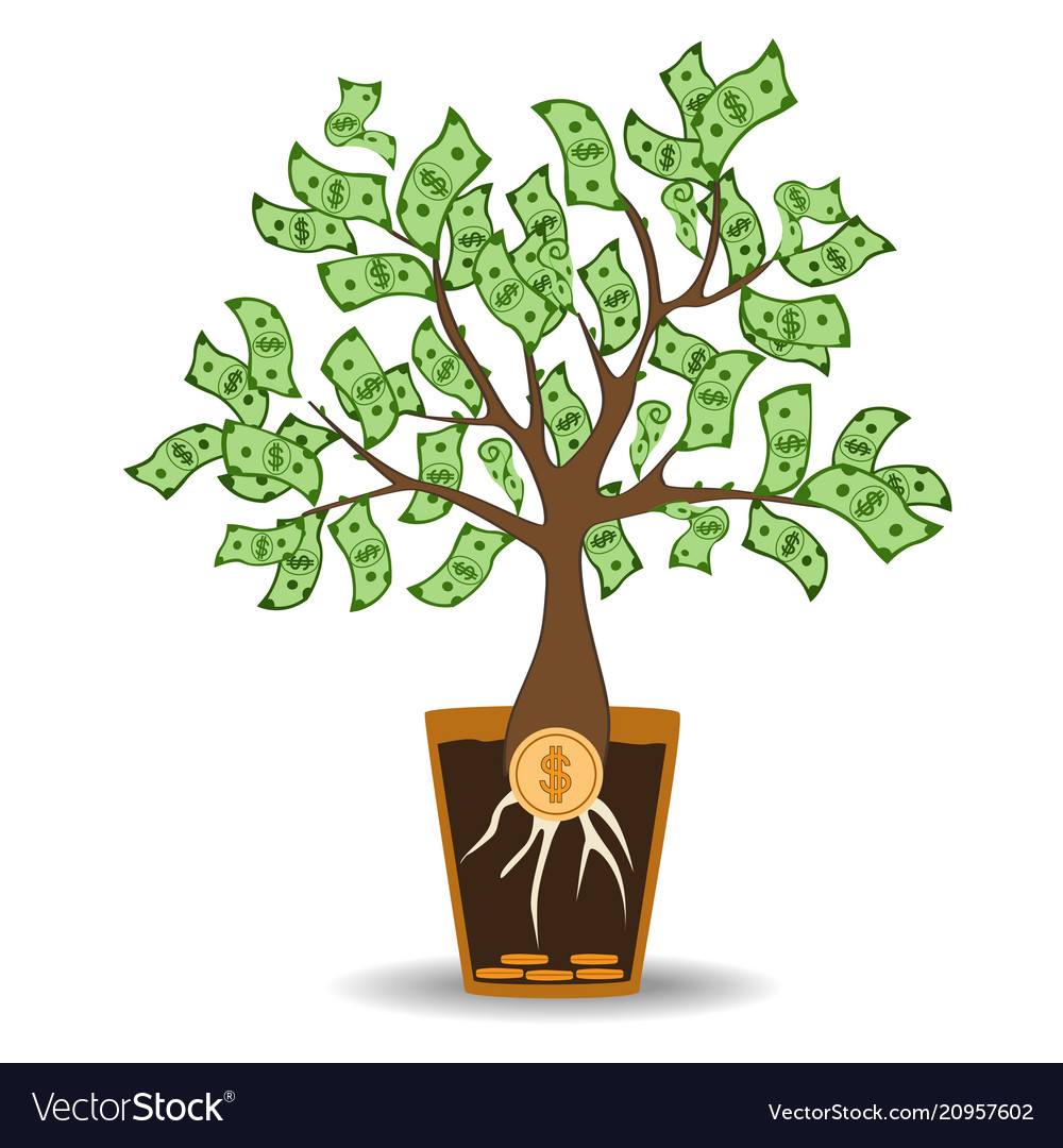 Money tree growing from a coin root green cash.