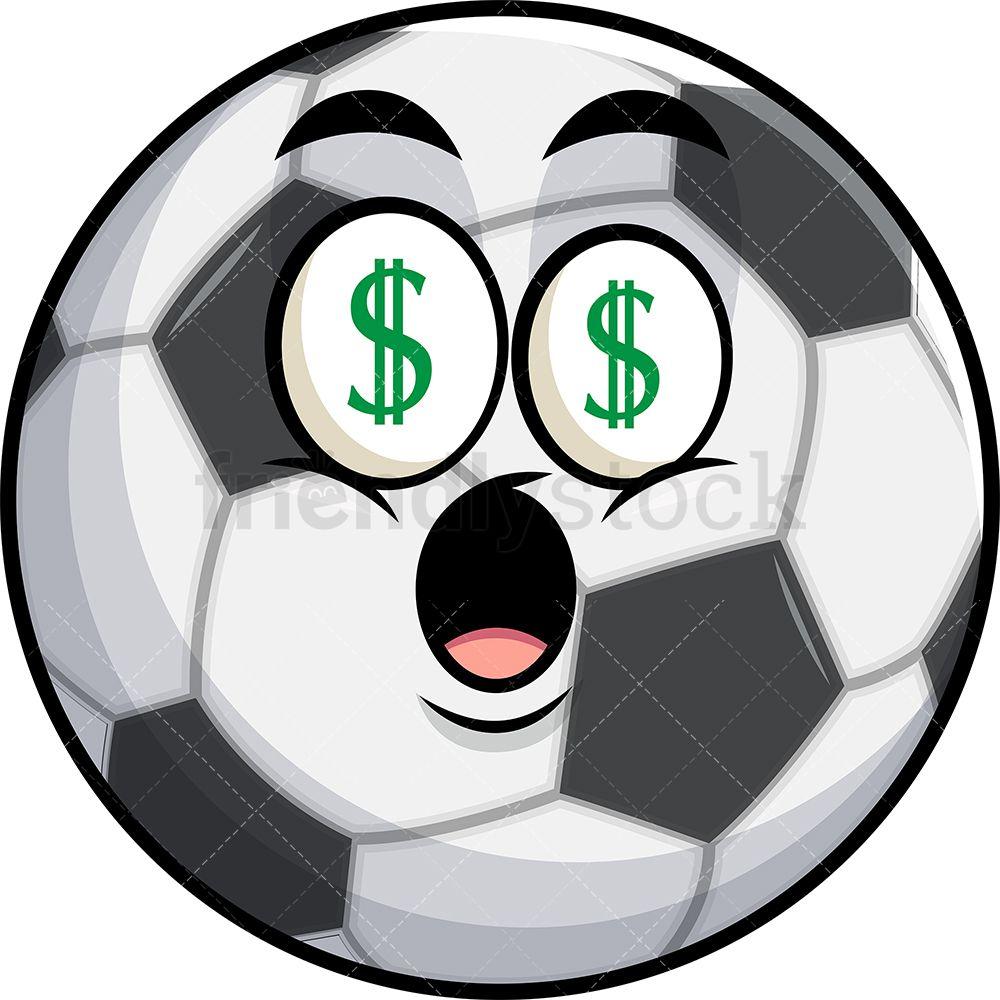 Soccer Ball With Money Eyes Emoji.