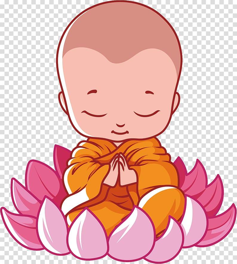 Praying Monk on lotus flower illustration, Vesak Buddhism.