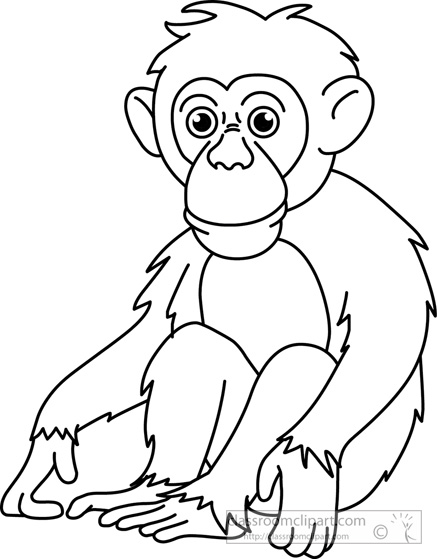 Monkey black and white clipart 6 » Clipart Station.
