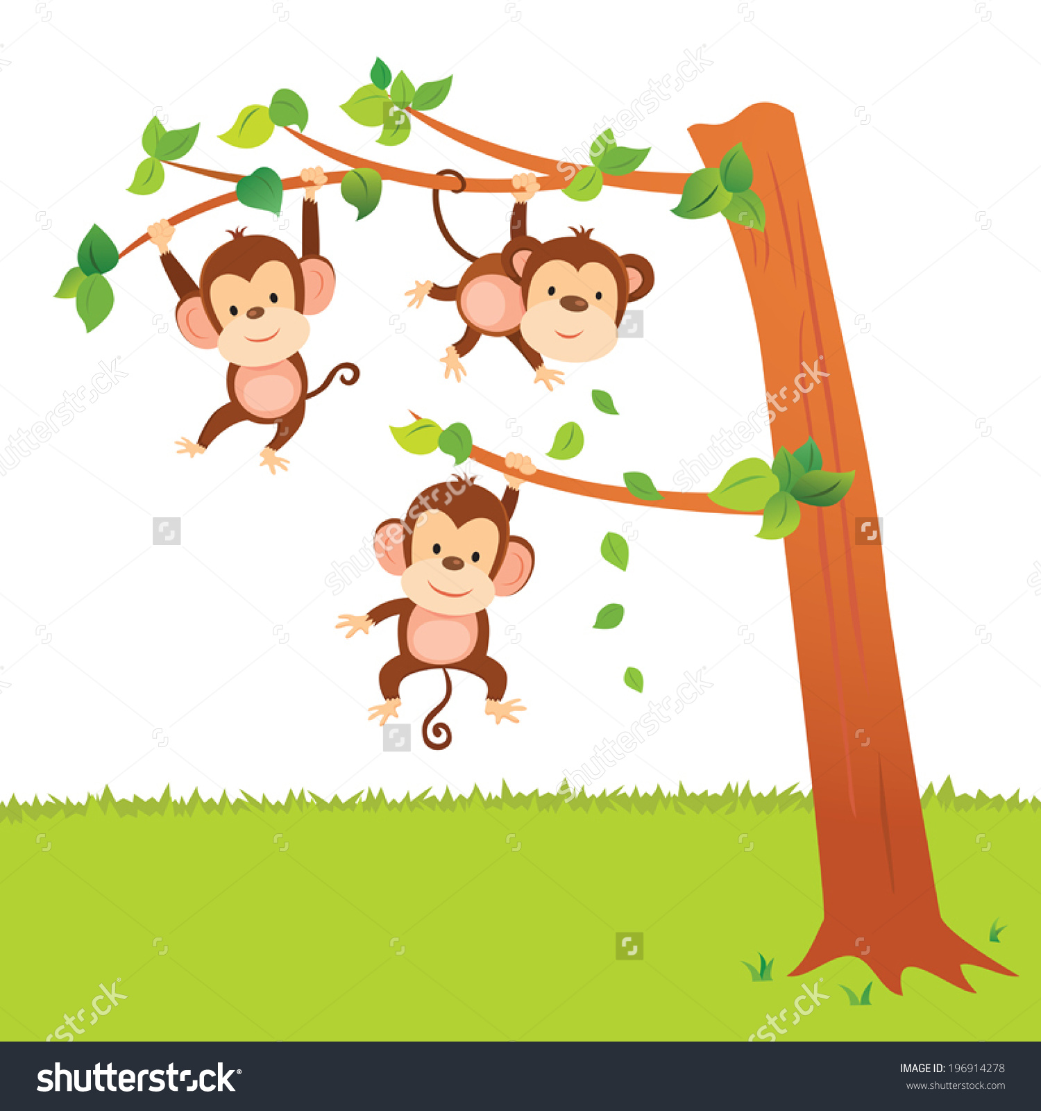 clipart monkey swinging in a tree clipground