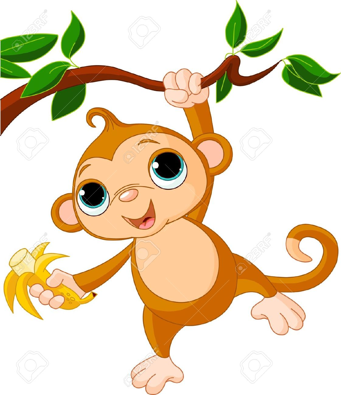 Cute Baby Monkey On A Tree Holding Banana Royalty Free Cliparts.